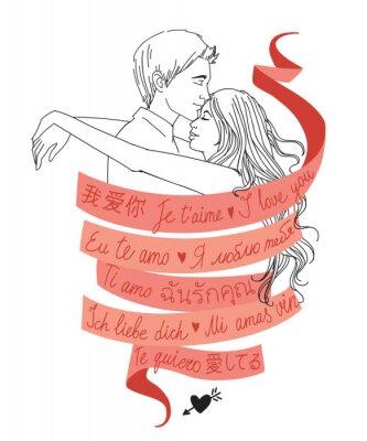 """Porträt von umarmt junges Paar verdreht durch rotes Band mit Worten """"Ich liebe dich"""" in verschiedenen Sprachen geschrieben"""