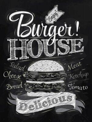 Poster Schriftzug Burger House mit einem Hamburger und inscr gemalt