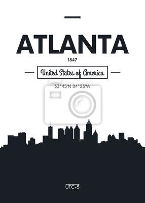 Poster Stadt Skyline Atlanta, flache Stil Vektor-Illustration