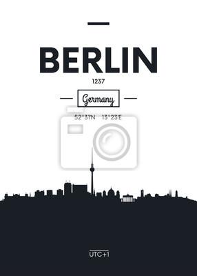 Poster Stadt Skyline Berlin, flache Stil Vektor-Illustration
