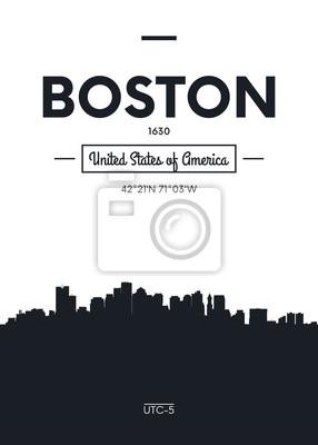 Poster Stadt Skyline Boston, flache Stil Vektor-Illustration