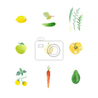 Poster with vegetables, greenery and fruits, symbols healthy eating. Vector set for your design, illustration in flat style with watercolor texture.