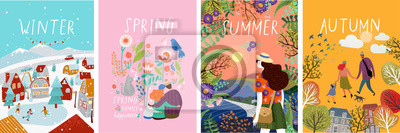 Sticker posters of seasons: winter, spring, summer, autumn; illustrations of a family in nature, girl in a landscape, a family with a cat in flowers and a city street with a skating rink and people