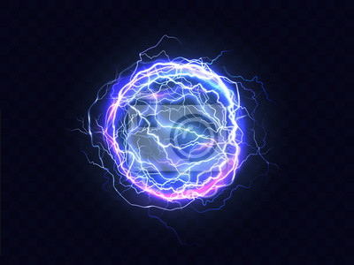 Sticker Powerful electrical discharge, lightning strike impact place realistic vector on transparent background. Ball lightning, magical effect design element. Electric energy flash sphere, pain nerve impulse