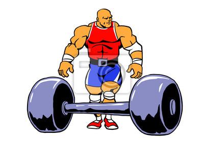 Powerlifting muscule bodybuilder workout, vector, cartoon, clipart, design