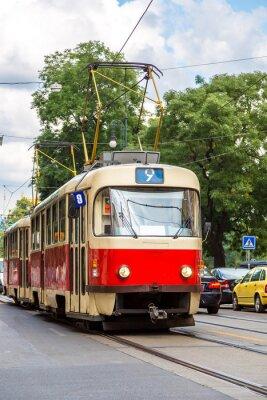 Sticker Prag rot Straßenbahn Detail, Tschechische Republik