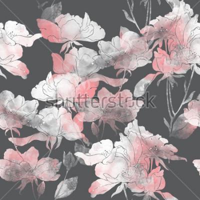 Sticker prägt Blumen und Blätter von Wildrose. handgemaltes nahtloses Muster. digitale Zeichnung und Aquarellbeschaffenheit. Hintergrund für Textildekor und Design. botanische Tapete. gemischte Medien. Blumen