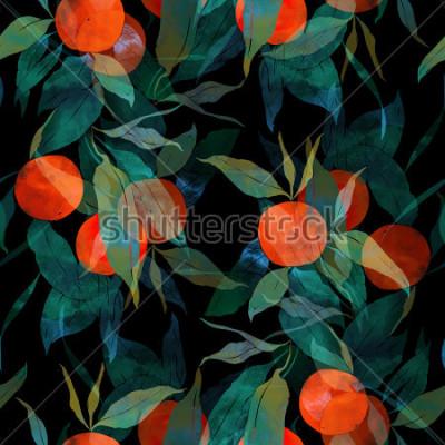 Sticker prägt subtropischen Mandarinenbaum mit Früchten und Blättern. handgemaltes nahtloses Muster. Digital und Aquarell. Hintergrund für Textildekor und Design. Tapete. Rahmen für gemischte Medien