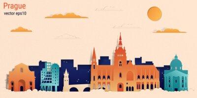 Prague city colorful paper cut style, vector stock illustration. Cityscape with all famous buildings. Skyline Prague city composition for design.