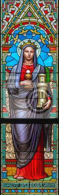 Sticker PRAGUE, CZECH REPUBLIC - OCTOBER 17, 2018: The St. Barbara on the stained glass in church Svatého Cyrila Metodeje designed by Josef Mocker (end of 19. cent.).