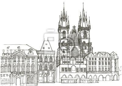 Prague old buildings drawing. eps10