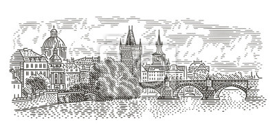 Prague panorama engraving style illustration. View of Charles Bridge. Vector, isolated (sky in separate layer).