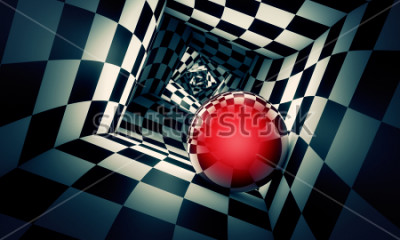 Sticker Predetermination. Red ball in a chess tunnel (concept image). The space and time. 3D illustration. Available in high-resolution and several. If you buy this image, I will be very grateful to you!