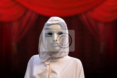 Priesterin der roten Magie, Zauberer mit magischen Maske okkulte Masonic Lodge, roter Hintergrund