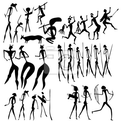 primitive Kunst - verschiedene Figuren - Vektor