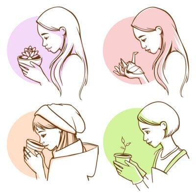 Profilporträts von jungen Frauen mit verschiedenen Objekten in Händen - Lotusblume, Papierkran, Kaffee zu gehen, Topf mit Pflanze