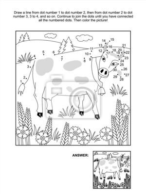 Punkt-zu-punkt-und malvorlagen - kuh-und kornblumen notebook-sticker ...