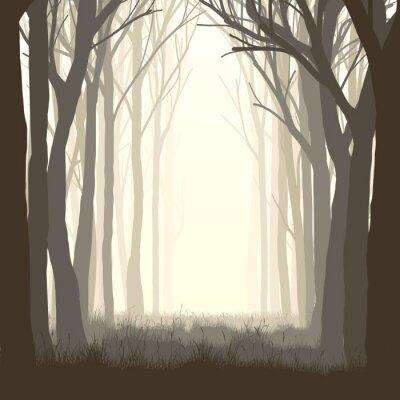 Sticker Quadratische Abbildung Lichtung im Wald.