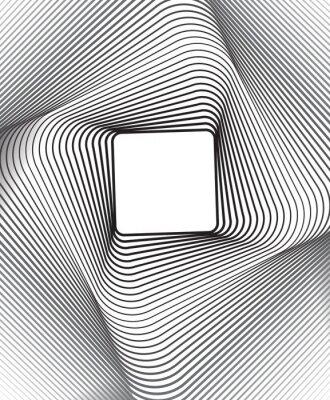 Sticker quadratischen Hintergrund optical art Schwarz-Weiß-