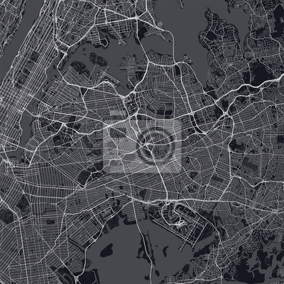Queens map. Dark map of Queens borough (New York, United States). Highly detailed map of Queens with water objects, roads, railways, etc.