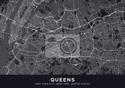 Queens map. Dark poster with map of Queens borough (New York, United States). Highly detailed map of Queens with water objects, roads, railways, etc. Printable poster.