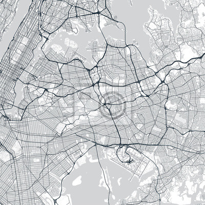 Queens map. Light map of Queens borough (New York, United States). Highly detailed map of Queens with water objects, roads, railways, etc.