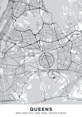 Queens map. Light poster with map of Queens borough (New York, United States). Highly detailed map of Queens with water objects, roads, railways, etc. Printable poster.
