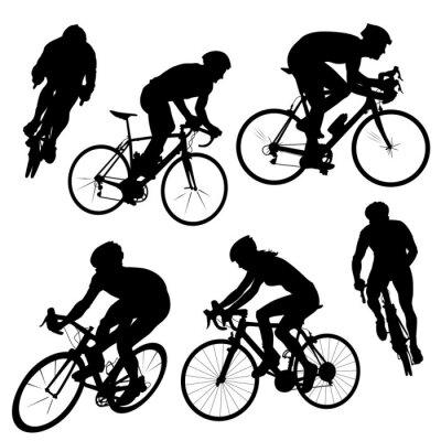 Sticker Radfahren Silhouetten