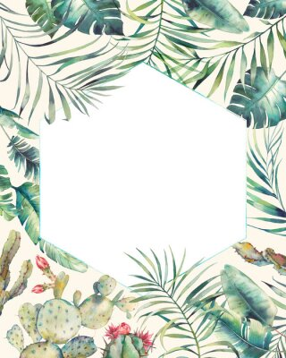 Sticker Rahmen der tropischen Pflanzen des Hexagons. Hand gezeichnete Sommerkarte mit Kaktus, exotische Niederlassungen, Bananenblätter, Palme. Gruß- oder Logo-Vorlage.