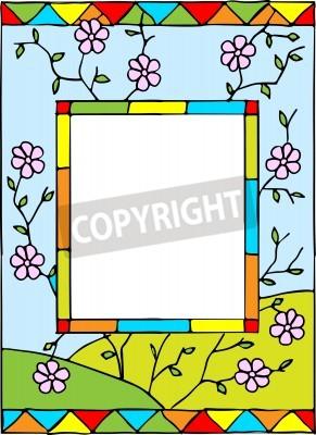 Sticker Rahmen mit Frühlingsblumen. Styled Glasmalerei. Abbildung.