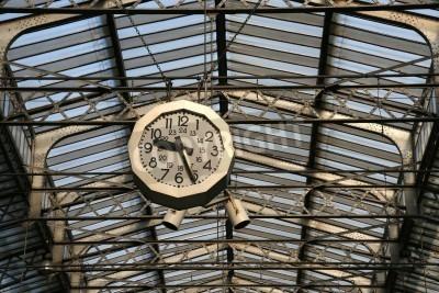 Sticker Railway station clock in Paris. Gare de L'Est.