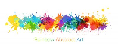 Sticker Rainbow abstract creative banner from paint splashes.