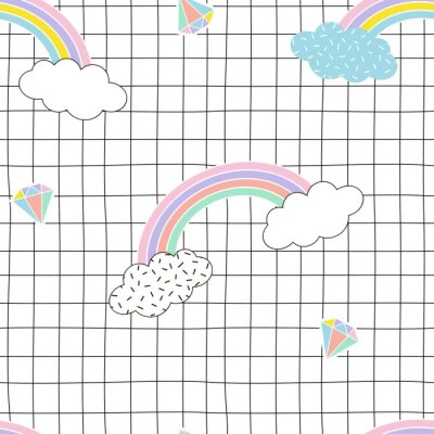 Rainbow clouds diamond on geometric grid background, Vector siamless memphis style pattern for nursery, kids and teens prints