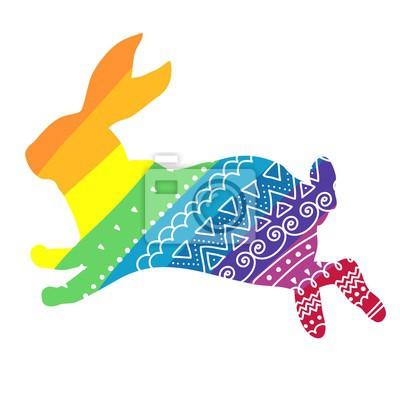 Rainbow rabbit with ornament