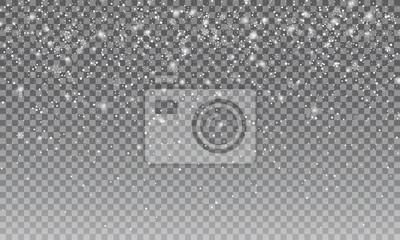 Sticker Ralistischer Schnee. Vectror transparenter Schneehintergrund. Weihnachten und Neujahr Dekoration