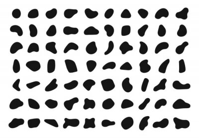 Sticker Random shapes. Black blobs, round abstract organic shape collection. Pebble, drops and stone silhouettes. Blotch, inkblot texture vector set. Rounded spot or speck of irregular form