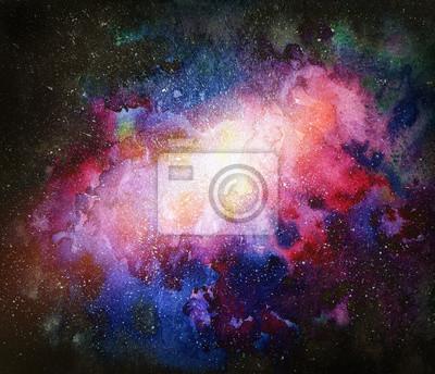 Raum Hintergrund. Aquarellkulisse mit Sternen und Nebelfleck