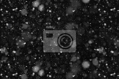 Sticker Real Falling Snow at night close-up overlay