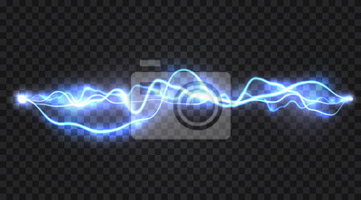 Sticker Realistic electric discharge, energy flow or lightning blast isolated on transparent background. Vector illustration.