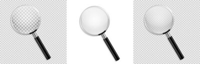 Sticker Realistic Magnifying glass vector isolated vector illustration on transparent background