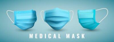 Sticker Realistic medical face mask. Details 3d medical mask. Vector illustration