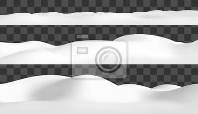 Sticker Realistic snow hills landscape. Vector snowdrift illustration. Winter background.