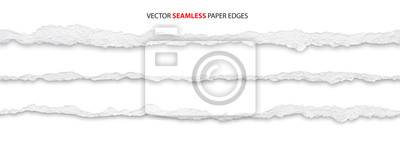 Sticker realistic torn paper edges, vector illustration