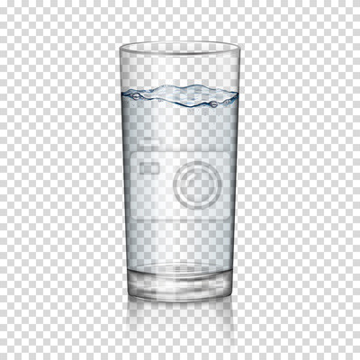 Sticker realistic transparent glass of water isolated