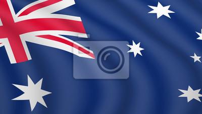 Realistische wehende Flagge von Australien. Aktuelle Nationalflagge des Commonwealth of Australia. Illustration des Lügens der gewellten schattierten Flagge des Australien-Landes. Hintergrund mit aust