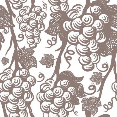 Sticker Reben Nahtlose Muster. Trauben.