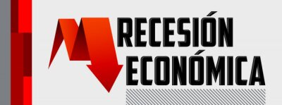 Sticker Recesion Economica, Economic Recession Spanish text vector design.