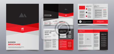 Sticker red black business brochure pages