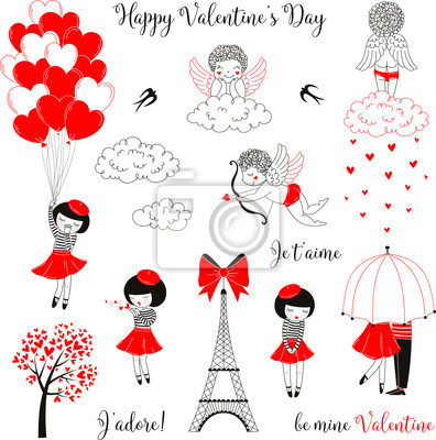 Red, black, white colored Valentine's day clip art set. Cute cartoon girl and angel characters. Vector Doodle love themed graphics.