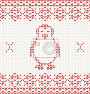 Red gestrickt Pinguin. Vektor-Illustration mit Ornament